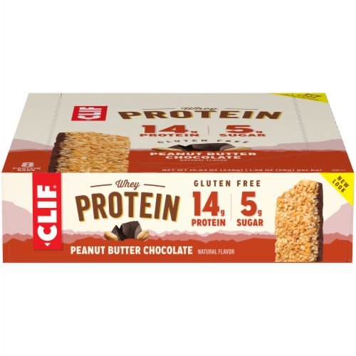 Clif Peanut Butter and Chocolate Whey Protein Bars Perspective: front