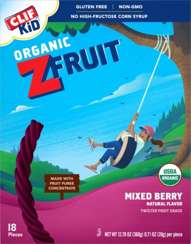 Clif Kid Organic ZFruit Mixed Berry Twisted Fruit Snacks Perspective: front