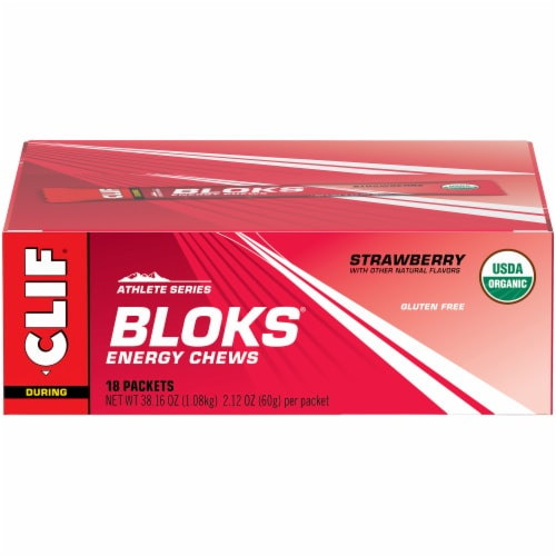 Clif Shot During Athlete Series Strawberry Bloks Energy Chews Perspective: front