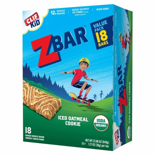 Clif Kid Zbar Iced Oatmeal Cookie Energy Snack Bars Perspective: front