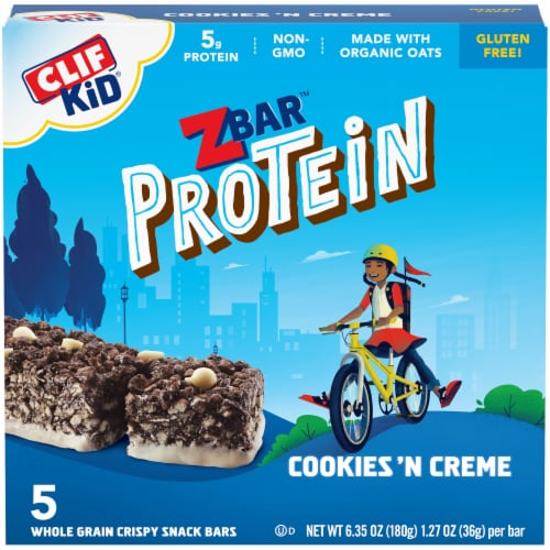 Clif Kid ZBar Protein Cookies n Creme Whole Grain Crispy Snack Bars Perspective: front