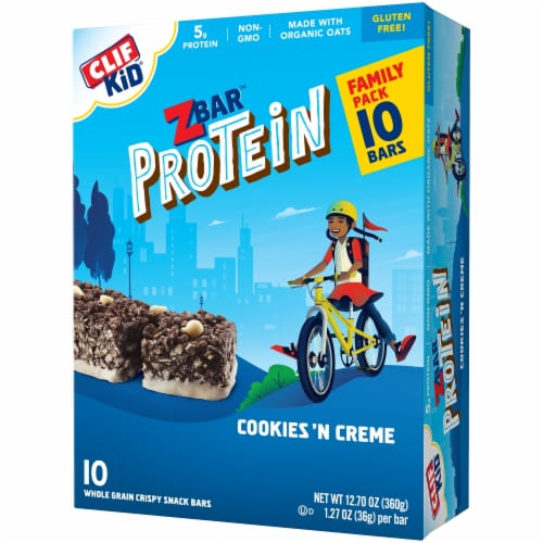 Clif Kid ZBar Cookies n Creme Protein Snack Bars Perspective: front