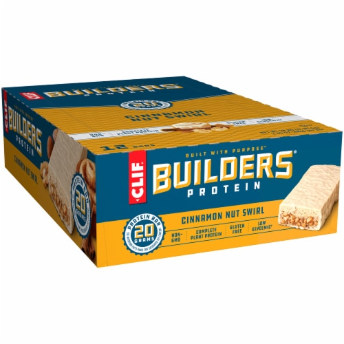 Clif Bar Builders Cinnamon Nut Swirl Protein Bars Perspective: front