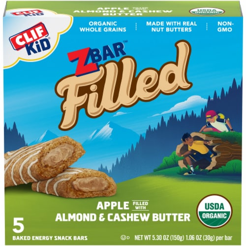 Clif Kid Organic Z Bar Apple Filled with Almond & Cashew Butter Baked Energy Snack Bars Perspective: front