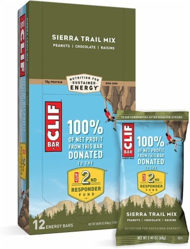 CLIF Bar Energy Bars, Sierra Trail Mix, 2.4 oz. bar (12 count) Perspective: front