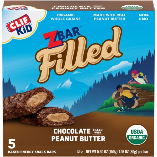 Clif Kid Z Bar Filled Chocolate with Peanut Butter Baked Energy Snack Bars Perspective: front