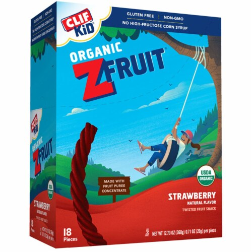 Clif Kid Organic Zfruit Strawberry Snack Bar, 0.7 Ounce -- 216 per case. Perspective: front