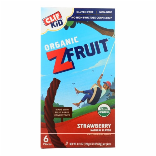 Clif Bar Organic Kid Twisted Fruit Rope - Strawberry - Case of 6 - 0.7 oz. Perspective: front