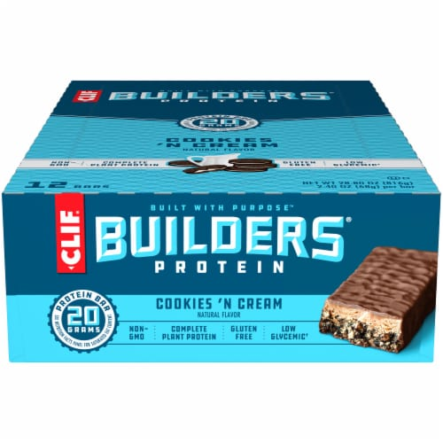 Clif Bar Builders Cookies 'N Cream Protein Bars Perspective: front
