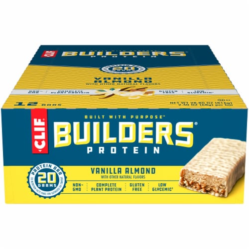 Clif Bar Builders Vanilla Almond Protein Meal Bars Perspective: front