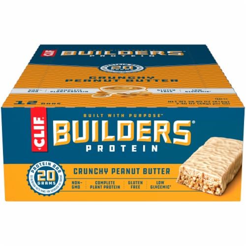 Clif Bar Builders Crunchy Peanut Butter Gluten Free Protein Bars Perspective: front