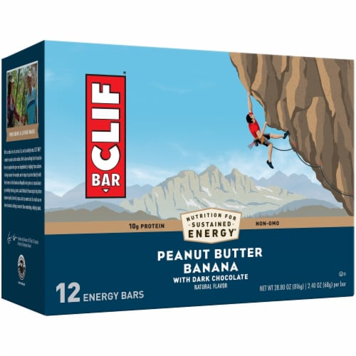 Clif Bar Peanut Butter Banana with Dark Chocolate Energy Bars Perspective: front