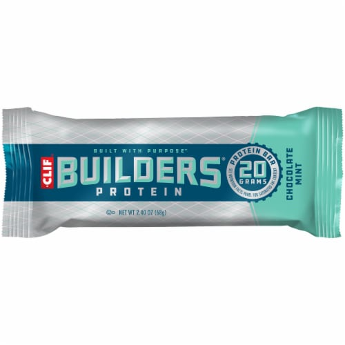 Clif Bar Builders Chocolate Mint Protein Bar Perspective: front