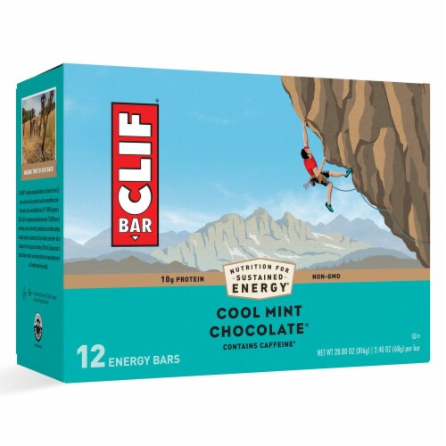 Clif Bar Cool Mint Chocolate Energy Bars Perspective: front