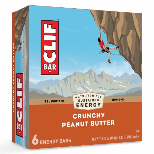 Clif Crunchy Peanut Butter Energy Bars 6 Count Perspective: front
