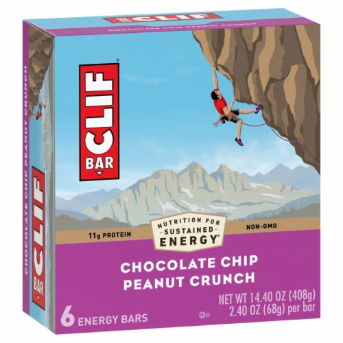 Clif Bar Chocolate Chip Peanut Crunch Energy Bars Perspective: front