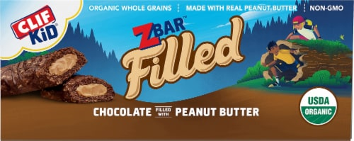 Clif Kid Organic Zbar Filled Chocolate Filled with Peanut Butter Baked Energy Snack Bars Perspective: front