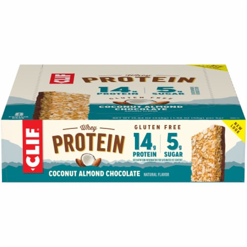 Clif Bar Coconut Almond Chocolate Whey Protein Bars Perspective: front