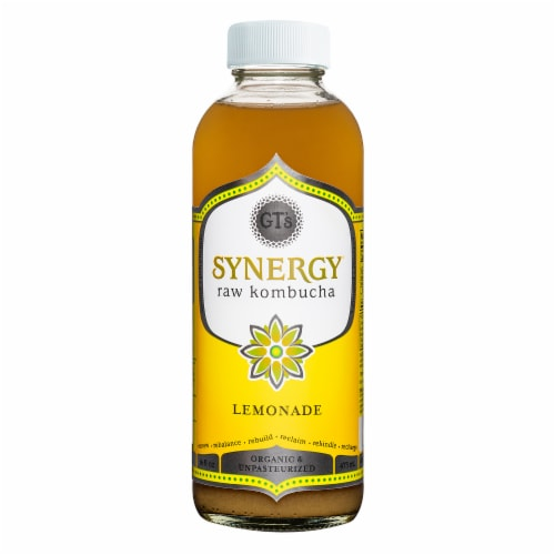 GT's Living Foods Synergy Organic Lemonade Raw Kombucha Perspective: front