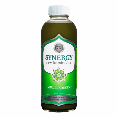 GT's Living Foods Synergy Organic Multi-Green Raw Kombucha Perspective: front