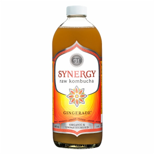 GT's Living Foods Organic & Raw Gingerade Kombucha Perspective: front