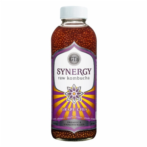 GT's Living Foods Synergy Organic Grape Chia Kombucha Perspective: front