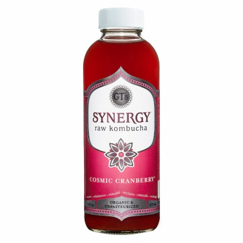 GT's Living Foods Synergy Organic Cosmic Cranberry Kombucha Perspective: front