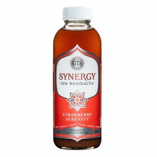 GT's Living Foods Synergy Organic Strawberry Serenity Kombucha Perspective: front