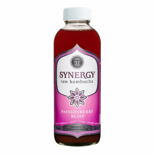 GT's Living Foods Synergy Organic Passionberry Bliss Raw Kombucha Perspective: front