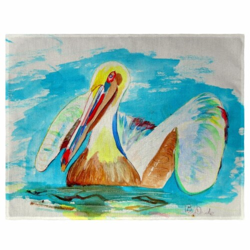 Betsy Drake PM715 Pelican in Teal Place Mat - Set of 4 Perspective: front