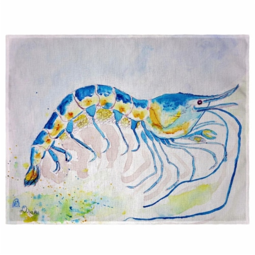 Betsy Drake PM753 Blue Shrimp Place Mat - Set of 4 Perspective: front