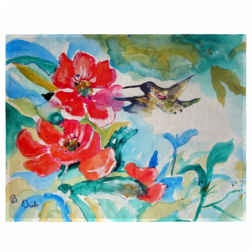 Betsy Drake PM1007 Hummingbird & Red Flower Place Mat - Set of 4 Perspective: front