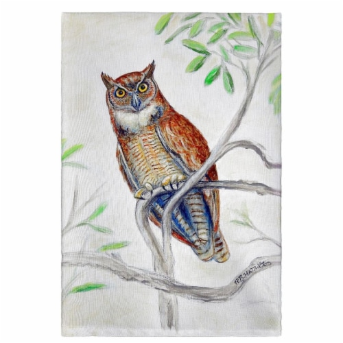 Betsy Drake GT714 Great Horned Owl Guest Towel Perspective: front