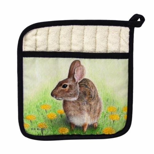 Betsy Drake Rabbit Left Pot Holder Perspective: front
