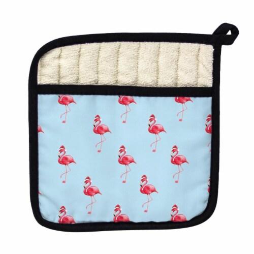 Betsy Drake Tiled Flamingo Santa Pot Holder Perspective: front
