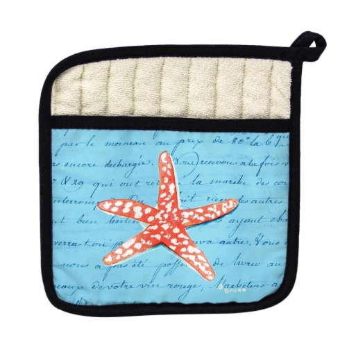 Betsy Drake Coral Starfish Blue Pot Holder Perspective: front