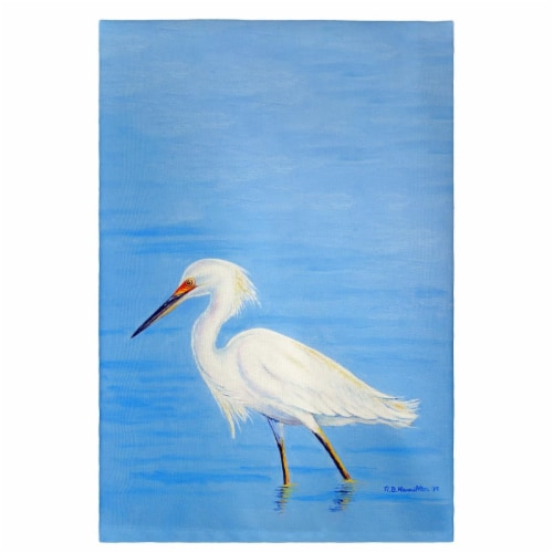 Betsy Drake Stalking Snowy Egret Guest Towel Perspective: front