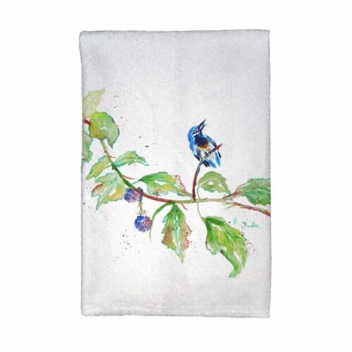 Betsy Drake KT1072 Bird & Blackberries Kitchen Towel Perspective: front