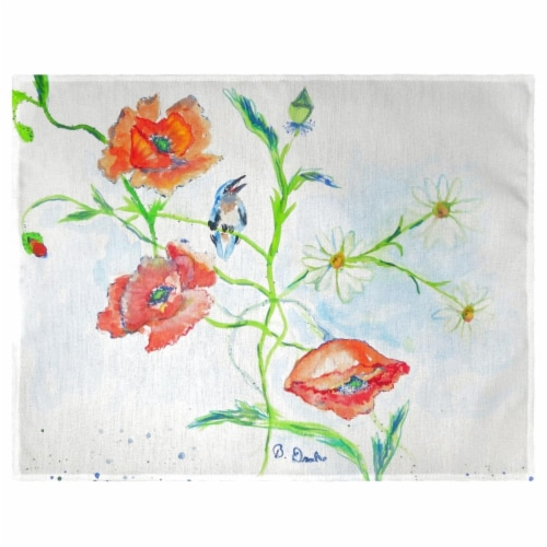 Betsy Drake PM1051 Poppies & Daisies Place Mat - Set of 4 Perspective: front