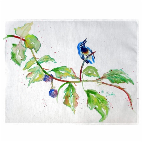 Betsy Drake PM1072 Bird & Blackberries Place Mat - Set of 4 Perspective: front