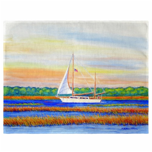 Betsy Drake PM1075 Marsh Sailing Place Mat - Set of 4 Perspective: front