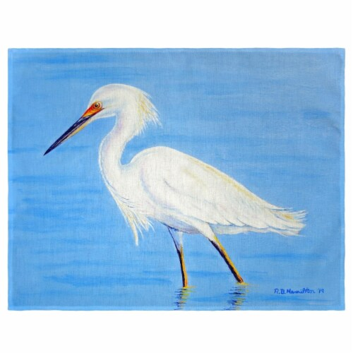 Betsy Drake PM1087 Stalking Snowy Egret Place Mat - Set of 4 Perspective: front