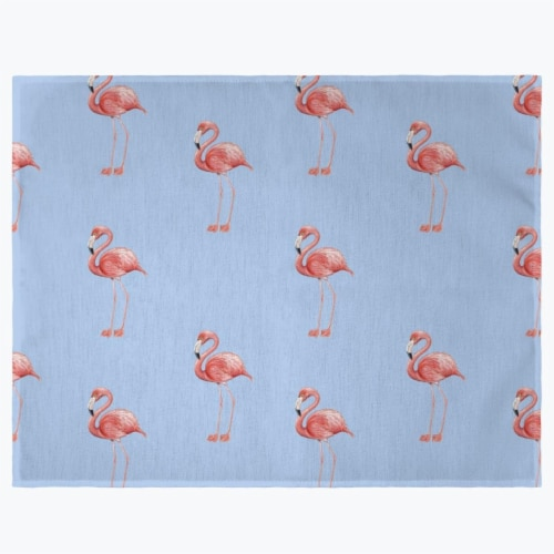 Betsy Drake PM084B Tiled Flamingos Light Blue Place Mat - Set of 4 Perspective: front