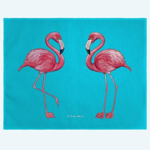 Betsy Drake PM084T Flamingos Place Mat - Set of 4 Perspective: front