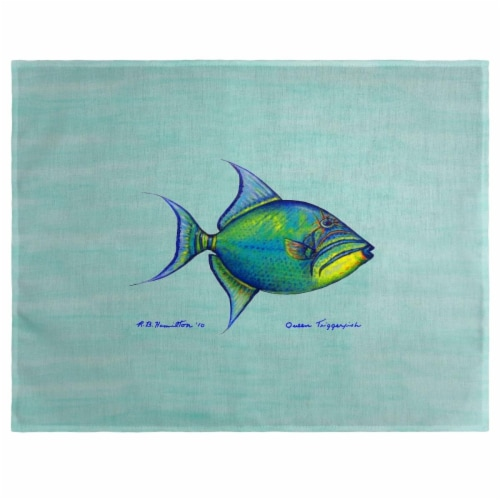 Betsy Drake PM114C Trigger Fish Teal Place Mat - Set of 4 Perspective: front