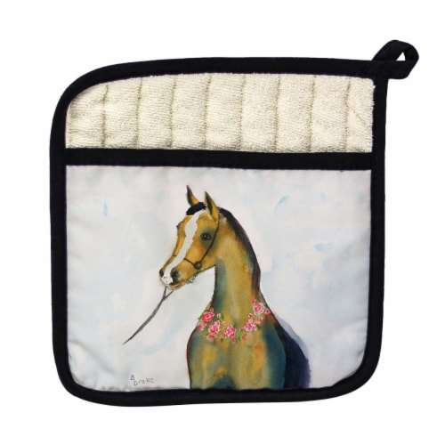 Betsy Drake Horse & Garland Pot Holder Perspective: front