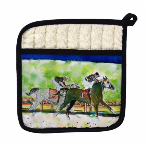 Betsy Drake Close Race Pot Holder Perspective: front