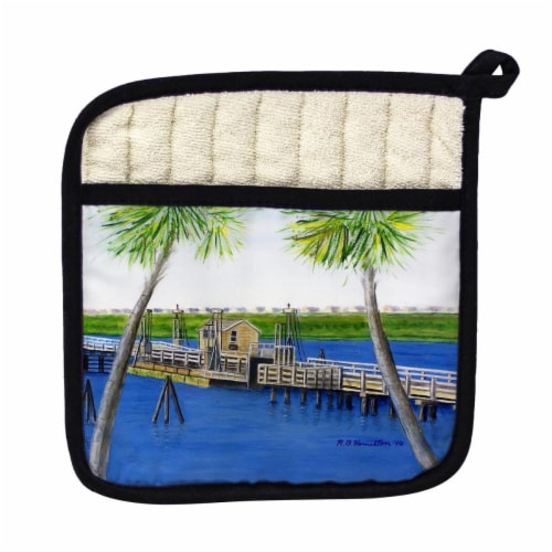 Betsy Drake Sunset Beach, NC Bridge Pot Holder Perspective: front