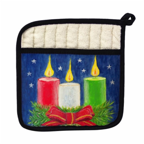 Betsy Drake Christmas Candles Pot Holder Perspective: front