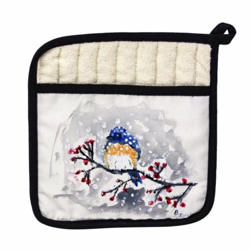 Betsy Drake Blue Bird & Snow Pot Holder Perspective: front